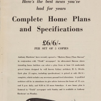 """Page from catalogue. Headline: """"Home builders! Here's the best news you've had for years."""""""