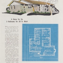 House plan on blue background with description and illustration.