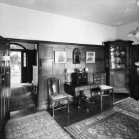 Drawing room and entry hall at Fenton