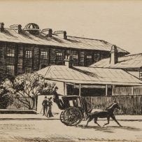 B/W drawing of Hyde Park Barracks, viewed across College Street showing a horse drawn cart and pedestrians in the foreground.
