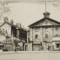 B/W drawing of Hyde Park Barracks, viewed across Queens Square, showing pedestrians and office workers in front of the large old 3 storey building with gable front and large sandstone wall and gate area in the foreground.