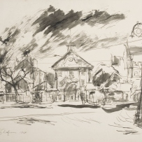 Rough, hurried sketch of the Hyde Park Barracks using ink wash, showing gable front of the 3 storey building perched behind the sandstone wall and trees facing Macquarie Street. Dark clouds are evoked in the sky using heavy ink smudges.