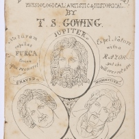 Old black and white illustrated book cover with three drawings of men with varied facial hair.