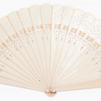 Brisée fan. Ivory Xylonite or celluloid, with pierced decoration, circa 1900.