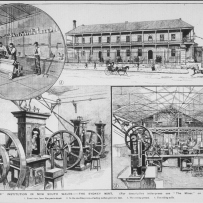 Series of B/W illustrations of metal rolling and coin pressing machinary and an exterior view of a large 2 storey verandah building with workers.