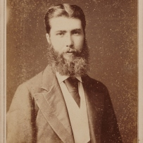 Sepia toned portrait of Bearded man.
