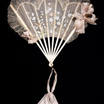 Pleated concertina fan. Ivory with gauze and lace. Unknown maker, ca1900.