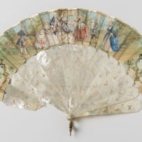 A concertina dress fan provenanced to Sarah Wentworth (1805 - 1880). Painted paper with mother of pearl sticks. France, circa 1870.