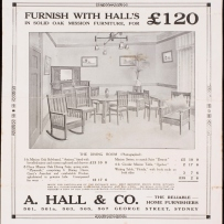 Furnish with Hall's in solid oak Mission furniture for 120 pounds
