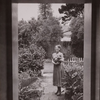 Marion Hall Best in her garden, 1952