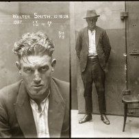 Dual mugshot of man, closeup on left without hat, full length on right with hat on.