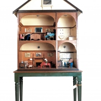 This is a photograph of a timber doll's house