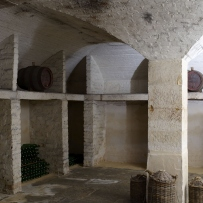 Arched brick vaulted ceiling and empty brick shelves in wine cellar