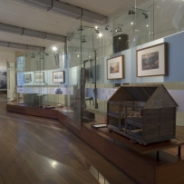 Documentation of Convicts: sites of punishment exhibition showing room view looking towards audio-visual