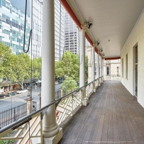 Wooden verandah overlooking Macquarie Street.