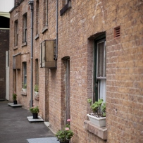 Row of brick terraces.