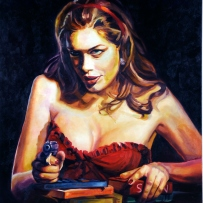 Painting of Tara Moss wearing a low cut red dress and holding a gun. A stack of books sit under her left hand.