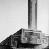 B&W image of incinerator that features a detailed design by Walter Burley Griffin