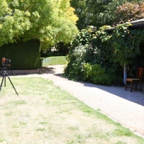 View of camera set up in garden.
