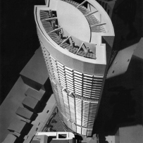 This is a black and white photograph of an architectural model of the Grosvenor Place building taken from above