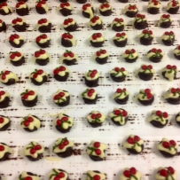 Rows of mini christmas chocolates