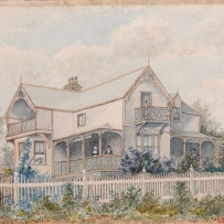Watercolour of house.