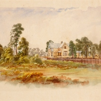 Watercolour painting of house in distance.