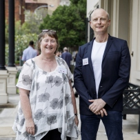 Elizabeth Nicol, University of Auckland, and Dr Graeme Skinner, Honorary Associate, Sydney Conservatorium of Music, University of Sydney, at symposium 'Sound Heritage Sydney: Making Music in Historic Places', Elizabeth Bay House