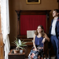 James Doig and Nyssa Milligan, postgraduate students, Sydney Conservatorium of Music, in the drawing room at Elizabeth Bay House