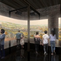 Image showing a large projection of a painting of Sydney with visitors looking at it.