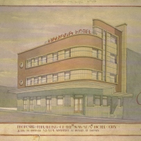 drawing showing exterior of three storey hotel of streamlined modernist design with strong horizontal window bands.