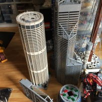 The Australia Square and Central Park Tower LEGO models stand side-by-side.