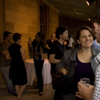 Guests enjoy drinks on the verandah at the launch of Sydney's Pubs, Justice & Police Museum, 26 February 2008.