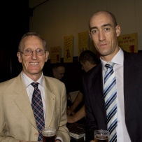 SLM Director, Peter Watts & Hayden Shepherd from exhibition sponsor, Squire's, at the launch of Sydney's Pubs exhibition, Justice & Police Museum, 26 February 2008.