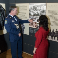 Commissioner of NSW Police Andrew Scipione and HHT curator Anna Cossu at the Justice and Police Museum