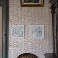 Two framed works containing a series of white crochet set in resin