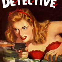 Illustrated book cover showing blonde woman in a red dress holding a gun.
