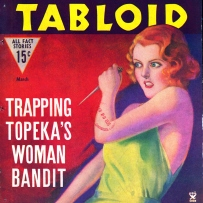 Illustrated magazine cover with red haired lady looking menacing whilst holding a knife.