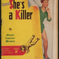 Illustrated book cover showing a man on the ground and a woman with her fingers to her mouth indicating shhh