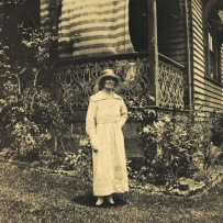 Image of woman standing outside Meroogal