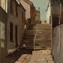 Painting showing narrow street lined by small houses with steep set of steps.