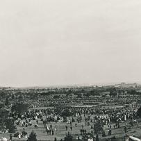 View of a wide expanse of open grass and sparse trees dotted with people gathering for a memorial service Centennial Park