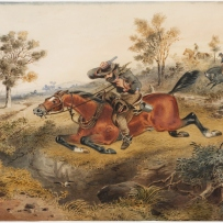 Bushranger being chased by mounted police trooper through the bush