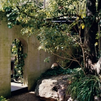 This is a colour photograph of a painted brick wall with arched entrance surrounded by garden