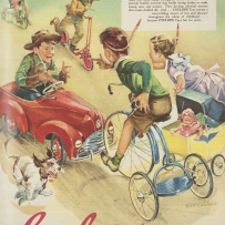 This is a colour image of young girls and boys playing with tricycles, scooters, doll prams and pedal cars dressed in western costumes