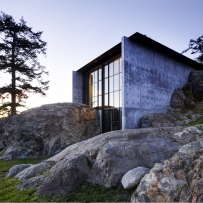 Modern house built into rocks in Washington USA