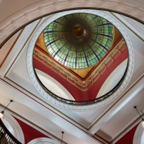 Ground Level looking up to the Dome of the Queen Victoria Building, Sydney