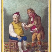 Surgeon in red coat bleeding man in yellow into a bowl with blood already in it.