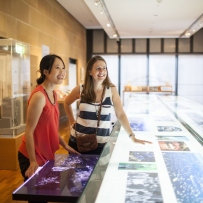 Two women leaning on glass-topped illuminated exhibition case that stretches length of gallery.