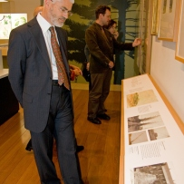 Richard Aitken of the Australian Garden Historical Association views the exhibition